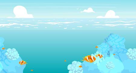 Flache flache Unterwasservektorillustration. Sommerozean, Meerlandschaftshintergrunddesign. Ferienort, Tiefsee mit Riffen und tropischen Fischen. Türkisfarbene Lagune. Seelandschaft-Cartoon-Hintergrund, Tapete Vektorgrafik