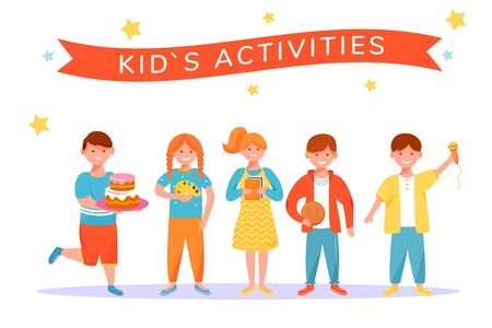 Kids activities flat vector illustration. Children entertainment and fun concept. Kids hobbies. Childhood activities. Happy boys and girls playing cartoon characters isolated on white background Illustration