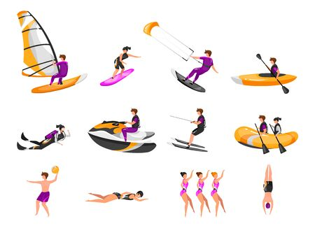 Extreme water sport flat vector illustrations set. Surfing, canoeing, kayaking. Scuba diving. Water-skiing sportsman. Synchronized swimming athletes. Sports people isolated cartoon characters Illustration