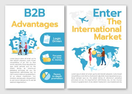 B2B Advantages brochure template. Flyer, booklet, leaflet concept with flat illustrations. Enter international market. Vector page cartoon layout for magazine. advertising invitation with text space