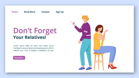 Dont forget your relatives landing page vector template. Trouble relationship website interface idea with flat illustrations. Communication with loved ones homepage layout, webpage cartoon concept