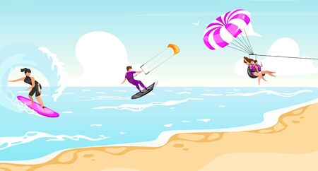 Water sports flat vector illustration. Surfing, kitesurfing, parasailing experience. Sportsman on boat active outdoor lifestyle. Tropical coastline, turquoise waterscape. Athletes cartoon characters 일러스트