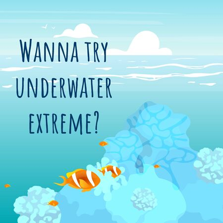 Wanna try underwater extreme social media post mockup. Motivational web banner design template. Social media booster, content layout. Inspirational poster, print ads with flat illustrations