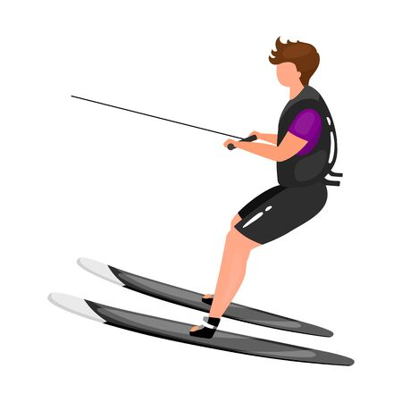 Waterskiing flat vector illustration. Extreme sports experience. Active lifestyle. Summer outdoor fun activities. Sportsman balancing on skis isolated cartoon character on white background
