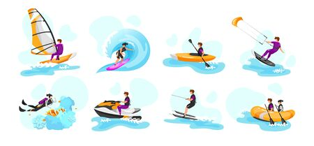 Extreme water sport flat vector illustrations set. Surfing, canoeing, kayaking. Scuba diving. Water-skiing sportsman. Kitesurfing athlete. Couple on boat. Sports people isolated cartoon characters