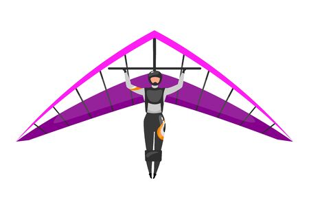 Hang gliding flat vector illustration. Skydiving, paragliding experience. Extreme sports. Active lifestyle. Outdoor activities. Sportsman isolated cartoon character on white background