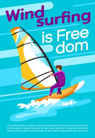 Windsurfing is freedom poster vector template. Watersport. Brochure, cover, booklet page concept design with flat illustrations. Extreme sport. Advertising flyer, leaflet, banner layout idea 일러스트