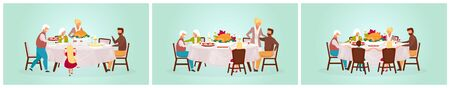 Thanksgiving day flat vector illustration set. Fall holiday celebration. Eating festive meal together. Celebrating harvest with grandparents. Happy family dinner with turkey cartoon characters Standard-Bild - 133067086
