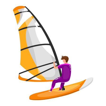 Windsurfing flat vector illustration. Extreme sports experience. Summer outdoor fun activities. Man balancing on surfing board. Sportsman isolated cartoon character on white background 일러스트