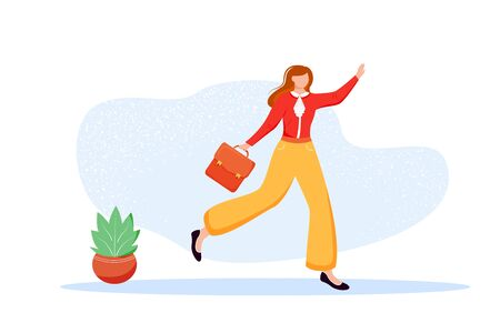 Office worker flat vector illustration. Employee with briefcase going to meeting. Female staff member hurrying to workplace. Candidate going to interview. Faceless cartoon character