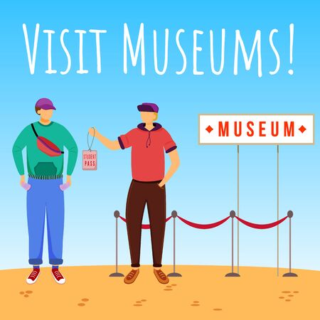 Visit museums social media post mockup. Discount for student pass. Advertising web banner design template. Social media booster, content layout. Promotion poster, print ads with flat illustrations Ilustração