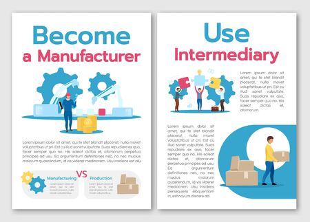 Become manufacturer brochure template. Use intermediary. Flyer, booklet, leaflet concept with flat illustrations. Vector page cartoon layout for magazine. advertising invitation with text space Standard-Bild - 133153520