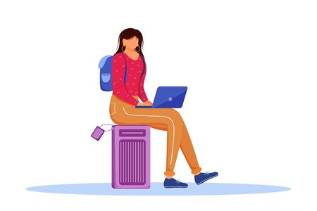 Using laptop during trip flat vector illustration. Booking hotel online. Working as freelancer while travelling abroad. Voyage preparation isolated cartoon character on white background 向量圖像