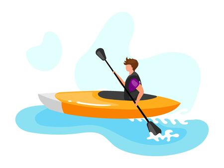 Kayaking flat vector illustration. Extreme sports experience. Active lifestyle. Summer vacation outdoor fun activities. Ocean turquoise waves. Sportsman isolated cartoon character on blue background