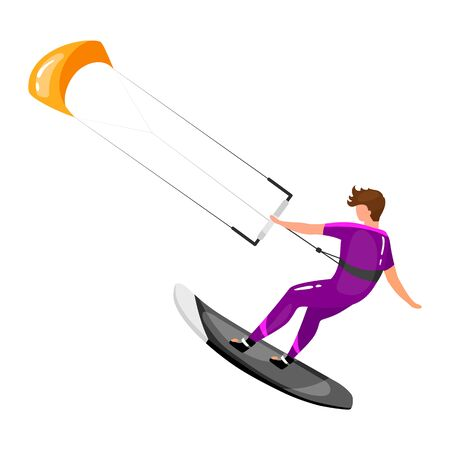 Kitesurfing flat vector illustration. Extreme sports experience. Active lifestyle. Vacation outdoor activities. Sportsman balancing on board with kite isolated cartoon character on white background