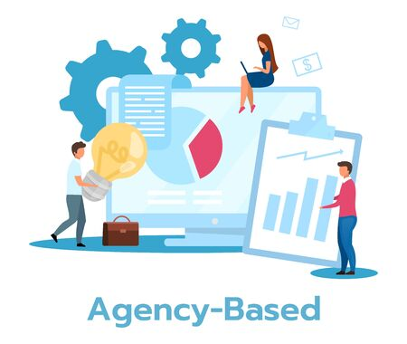 Agency based business model flat vector illustration. Partnership, cooperation. Coworking companies. Outsourcing. Financial statistics, annual report. Isolated cartoon character on white background Stock Illustratie