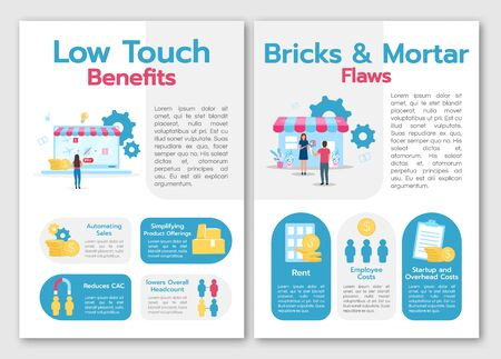 Low touch benefits brochure template. Brics and mortal flows. Flyer, booklet, leaflet concept with flat illustrations. Vector page cartoon layout for magazine. advertising invitation with text space