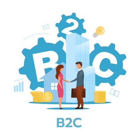 Business-to-consumer model flat vector illustration. B2C concept. Commercial transaction. Selling products, services to end-users. Marketing. Isolated cartoon character on white background
