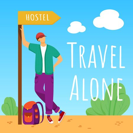 Travel alone social media post mockup. Staying in hostel. Budget tourism. Advertising banner design template. Social media booster, content layout. Promotion poster, print ads with flat illustrations