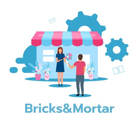 Bricks and mortar flat vector illustration. Retail store. Traditional flower shop. Face-to-face trading. Saleswoman and customer. Marketplace. Business model. Isolated cartoon character on white