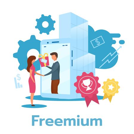 Freemium flat vector illustration. Free product trial period. Software version. Pricing strategy. Subscription service. Business model. Partial access. Isolated cartoon character on white background  イラスト・ベクター素材
