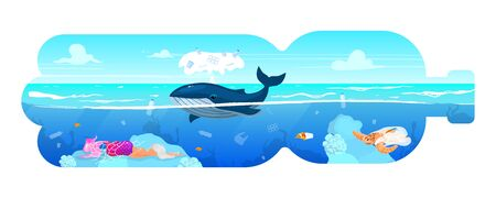 Whale and waste in plastic bottle silhouette flat concept icon. Environment pollution. Marine animal and garbage in sea water sticker, clipart. Isolated cartoon illustration on white background