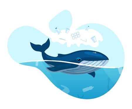 Whale in ocean with plastic waste flat concept icon. Sea water pollution problem. Marine animal trapped in plastic garbage sticker, clipart. Isolated cartoon illustration on white background Illusztráció