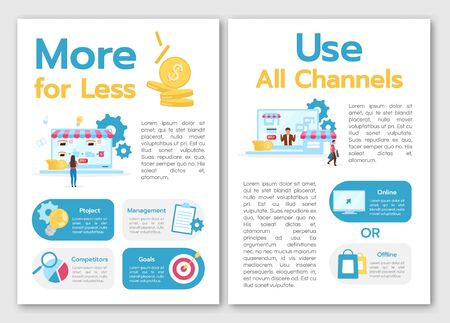 More for less brochure template. Use all channels. Flyer, booklet, leaflet concept with flat illustrations. Vector page cartoon layout for magazine. advertising invitation with text space