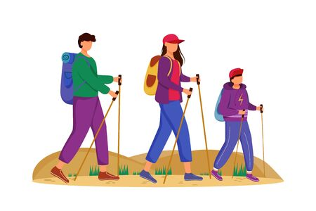 Budget tourism flat vector illustration. Hiking activity. Cheap travelling choice. Active vacation. Family on a mountain trip. Walking tour isolated cartoon character on white background