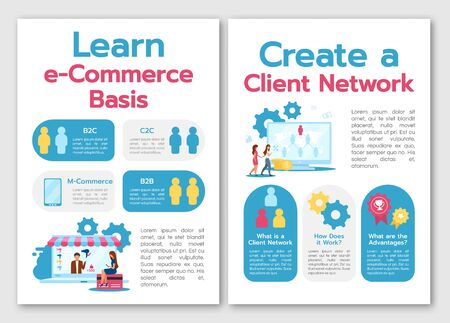 Learn e-commerce basis brochure template. Create client network. Flyer, booklet, leaflet concept, flat illustrations. Vector page cartoon layout for magazine. advertising invitation with text space