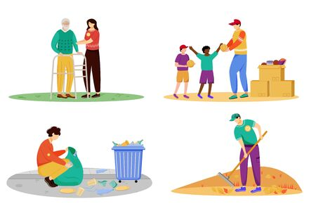 Charity activities flat vector illustrations set. Selfless volunteers, young activists isolated cartoon characters. Elderly people nursing, orphanage donation, garbage cleaning and community works
