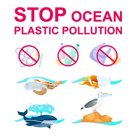 Stop plastic pollution in ocean flat concept icons set. Marine animals trapped in garbage stickers, cliparts pack. Nature protection. Waste in ocean. Isolated cartoon illustrations on white background Illusztráció