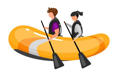 Couple on boat flat vector illustration. Extreme sports experience. Active lifestyle. Outdoor water activities. Teamwork rowing. Sports people isolated cartoon character on white background Illusztráció