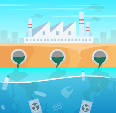 Water and air pollution flat vector illustration. Manufacture industry nature damage. Ecological catastrophe. Plastic garbage in ocean. Sea contamination. Illusztráció