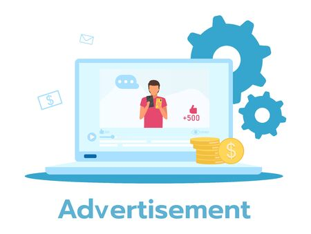 Advertisement flat vector illustration. Marketing message. Product, service promotion. Laptop display. E-commerce. Online store, shop. Business model. Isolated cartoon character on white background
