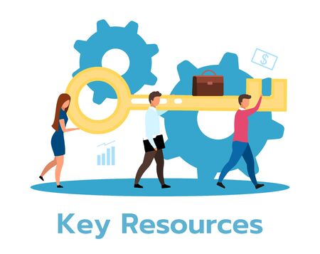 Key resources flat vector illustration. Effective company functioning. Organization management assets. Business model. Human resource. Teamwork. Isolated cartoon character on white background