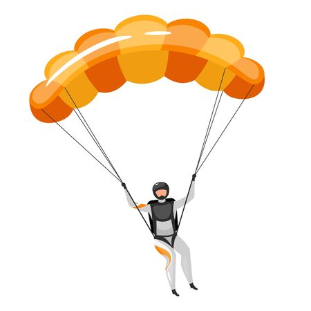 Parachuting flat vector illustration. Skydiving, paragliding experience. Extreme sports. Active lifestyle. Outdoor activities. Sportsman with parachute isolated cartoon character on white background