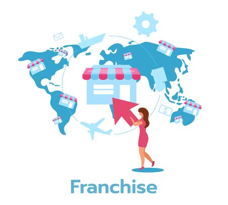 Franchise flat vector illustration. Distribution of products and services. Manufacturer, distributor, retailer. Business model. Chain store. Isolated cartoon character on white background