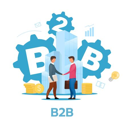 Business-to-business model flat vector illustration. B2B. Commercial transaction. Selling products, services. Businessmen shake hands. Cooperation, partnership. Isolated cartoon character on white Standard-Bild - 133540621