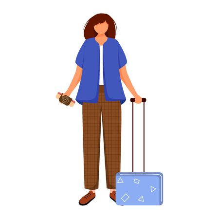 Girl tourist with suitcase and boarding pass flat contour vector illustration. Woman going on trip. Budget tourism. Travelling abroad isolated cartoon outline character on white background