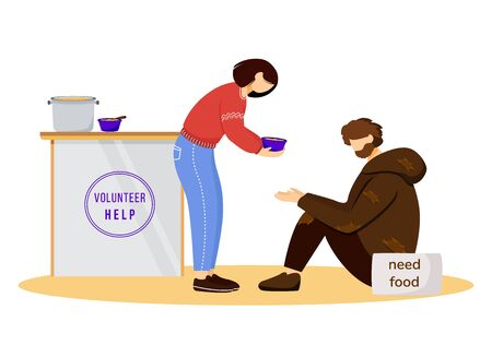 Feeding poor flat vector illustration. Selfless volunteer and homeless man isolated cartoon characters on white background. Young humanitarian serving free meals. Philanthropy, charity concept Illustration