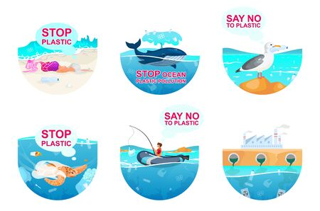 Plastic pollution in ocean flat concept icons set. Sea water contamination problem stickers, cliparts pack. Environment protection. Isolated cartoon illustrations on white background Illusztráció