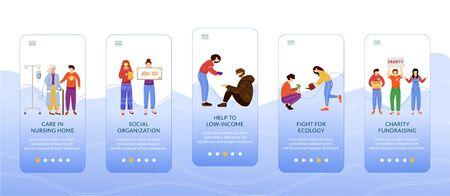Voluntary work onboarding mobile app screen vector template. Charity activities, volunteering walkthrough website steps with flat characters. UX, UI, GUI smartphone cartoon interface concept Illustration
