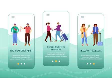 Budget tourism onboarding mobile app screen vector template.