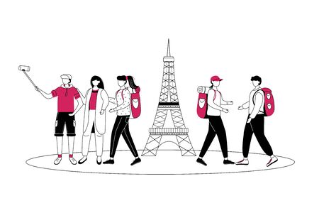 Weekend in Paris flat contour vector illustration. Traveling to France isolated cartoon outline character on white background. Tourist on trip. Sightseeing in Europe simple drawing