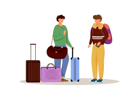 Amici con illustrazione vettoriale piatto bagagli. Prepararsi per un viaggio. Coppia sposata con le valigie. Andare in vacanza. Personaggio dei cartoni animati isolato preparazione del viaggio su sfondo bianco Vettoriali