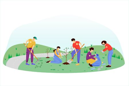 Community work day flat vector illustration. Volunteers, activists isolated cartoon characters on white background. Young people cleaning garbage and planting trees. Environment protection concept