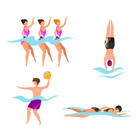 Extreme water sports flat vector illustrations set. Synchronized swimming athletes. Man playing volleyball in water. Swimmers in pool, sea, ocean. Active lifestyle isolated cartoon characters