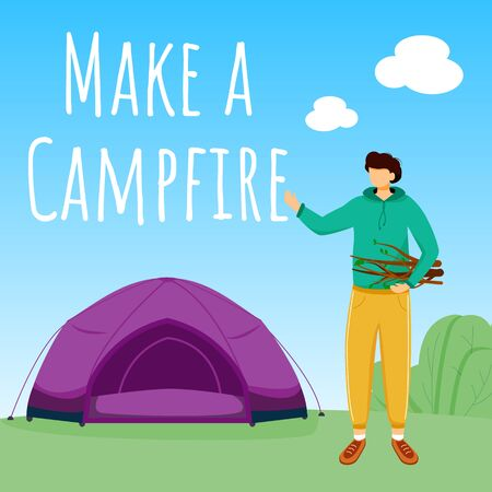 Make campfire social media post mockup. Camping in forest. Active vacation. Advertising web banner design template. Booster, content layout. Promotion poster, print ads with flat illustrations Ilustração