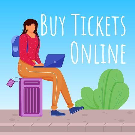 Buy tickets online social media post mockup. Making reservation in internet. Advertising banner design template. Social media booster, content layout. Promotion poster, ads with flat illustrations Ilustração